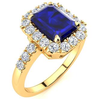 2 3/4 Carat Emerald Cut Sapphire and Halo Diamond Ring In 14 Karat Yellow Gold