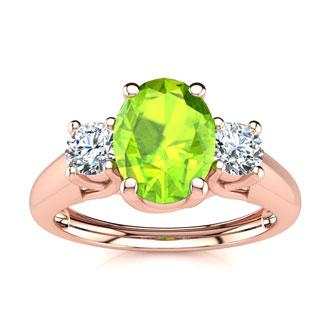 1 Carat Oval Shape Peridot and Two Diamond Ring In 14 Karat Rose Gold