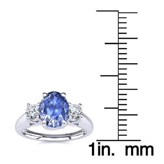 1.15 Carat Oval Shape Tanzanite and Two Diamond Ring In 14 Karat White Gold