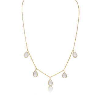 4 Carat Clear Quartz Multi Drop Necklace In 14K Yellow Gold Over Sterling Silver, 18 Inches
