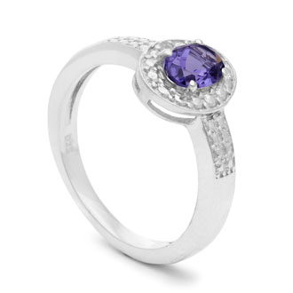 1/2 Carat Oval Shape Tanzanite and Halo Diamond Ring In Sterling Silver