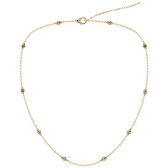 14 Karat Yellow Gold 1/2 Carat Diamonds By The Yard Necklace