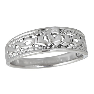 Sterling Silver Stylish Claddagh Band Ring
