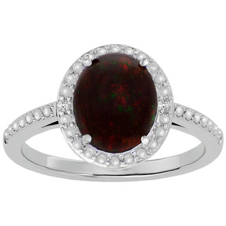 1 ½ Carat Black Opal and Diamond Halo Ring in Sterling Silver-Size 4 Only