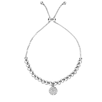 Sterling Silver Faceted Bead Adjustable Bead Bracelet with Cubic Zirconia Charm