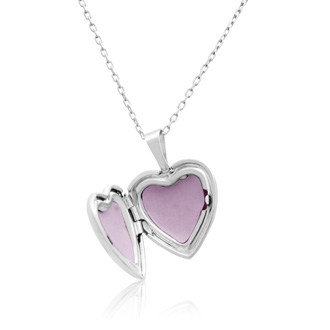 Sterling Silver Small Heart Locket Necklace, 18 Inches