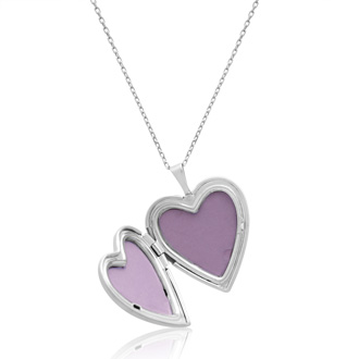 Sterling Silver Large Heart Locket Necklace, 18 Inches