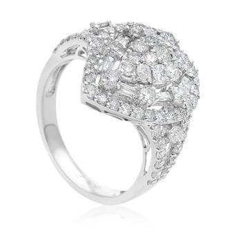 18 Karat White Gold 1.71 Carat Baguette and Round Diamond Pear Shape Ring