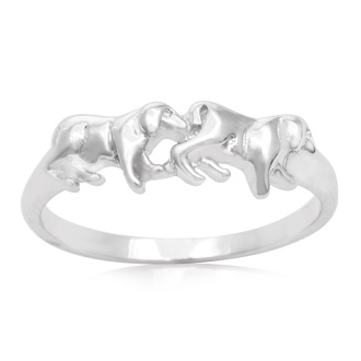 Sterling Silver Double Lion Ring