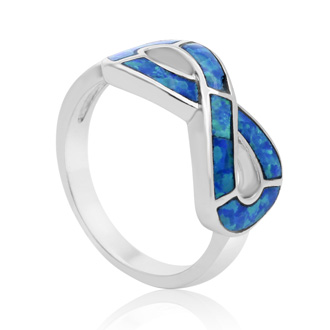 Sterling Silver Blue Opal Infinity Ring