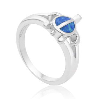 Sterling Silver Blue Opal Turtle Ring