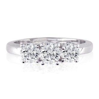1/4ct Three Diamond Engagement Ring in 14k White Gold
