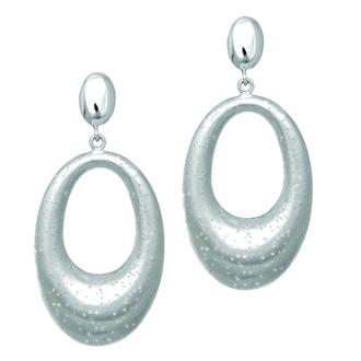 Sterling Silver Stardust Oval Dangle Earrings