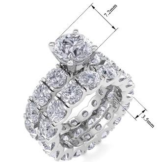 14 Karat White Gold 8 1/2 Carat Diamond Eternity Engagement Ring With Matching Band