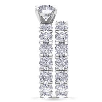 14 Karat White Gold 9 1/2 Carat Diamond Eternity Engagement Ring With Matching Band