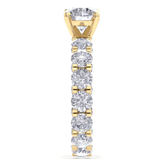 14 Karat Yellow Gold 5 1/4 Carat Diamond Eternity Engagement Ring With 1 1/2 Carat Round Brilliant Center