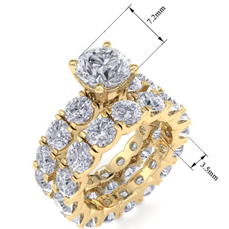 14 Karat Yellow Gold 8 1/2 Carat Diamond Eternity Engagement Ring With Matching Band
