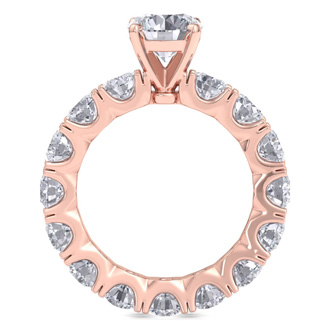 14 Karat Rose Gold 5 Carat Diamond Eternity Engagement Ring With 1 1/2 Carat Round Brilliant Center