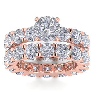 14 Karat Rose Gold 8 1/2 Carat Diamond Eternity Engagement Ring With Matching Band