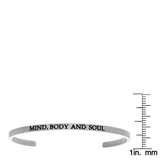 """Silver """"MIND, BODY AND SOUL"""" Bangle"""