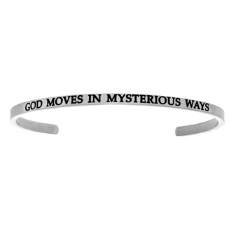 """Silver """"GOD MOVES IN MYSTERIOUS WAYS"""" Bangle"""