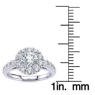 1 Carat Floating Halo Round Diamond Engagement Ring in 14 Karat White Gold