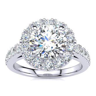 14 Karat White Gold 2 1/4 Carat Classic Round Halo Diamond Engagement Ring