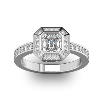 14 Karat White Gold 1 1/3 Carat Asscher Cut Halo Diamond Engagement Ring.  Just like Pippa Middleton
