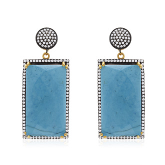 30 Carat Emerald Shape Turquoise & Simulated Diamond Dangle Earrings in 14K Yellow Gold Over Sterling Silver