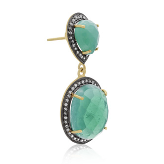 28 Carat Emerald and Simulated Diamond Drop Earrings In 14K Yellow Gold Over Sterling Silver