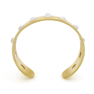 11 Carat Moonstone Cuff Bangle In 14K Yellow Gold Over Sterling Silver