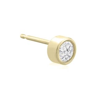 1/5 Carat Bezel Set Diamond Stud Earrings Crafted In 14 Karat Yellow Gold