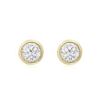 1/3 Carat Bezel Set Diamond Stud Earrings Crafted In 14 Karat Yellow Gold