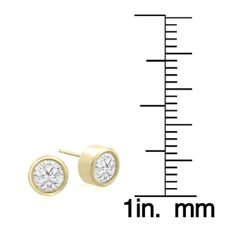 1 1/2 Carat Bezel Set Diamond Stud Earrings Crafted In 14 Karat Yellow Gold