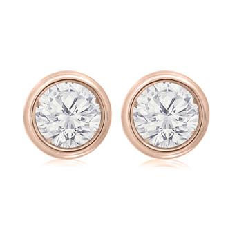 1 1/2 Carat Bezel Set Diamond Stud Earrings Crafted In 14 Karat Rose Gold