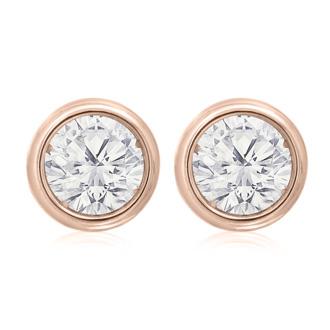 d67b87ecb04 2 Carat Bezel Set Diamond Stud Earrings Crafted In 14 Karat Rose Gold