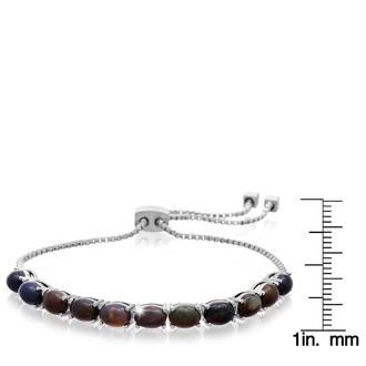 5 1/2 Carat Black Opal Adjustable Bolo Slide Tennis Bracelet