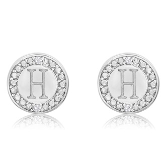 """H"" Initial Diamond Stud Earrings In Sterling Silver"