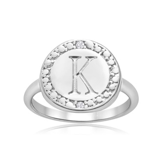 """K"" Initial Diamond Pinkie Ring In Sterling Silver"
