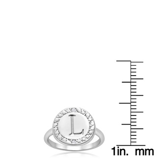 """L"" Initial Diamond Pinkie Ring In Sterling Silver"
