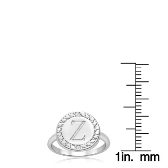 """Z"" Initial Diamond Pinkie Ring In Sterling Silver"