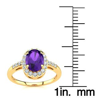 3/4 Carat Oval Shape Amethyst and Halo Diamond Ring In 14K Yellow Gold