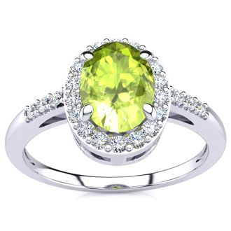 1 Carat Oval Shape Peridot and Halo Diamond Ring In 14K White Gold