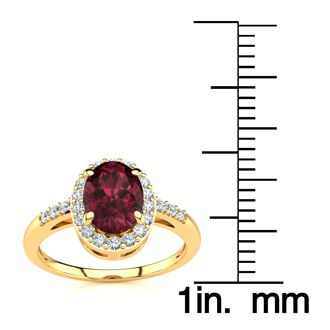 1 Carat Oval Shape Garnet and Halo Diamond Ring In 14K Yellow Gold