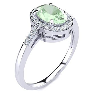 3/4 Carat Oval Shape Green Amethyst and Halo Diamond Ring In 14K White Gold