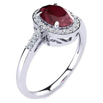 1 Carat Oval Shape Ruby and Halo Diamond Ring In 14K White Gold