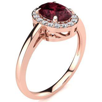 1 Carat Oval Shape Garnet and Halo Diamond Ring In 14K Rose Gold