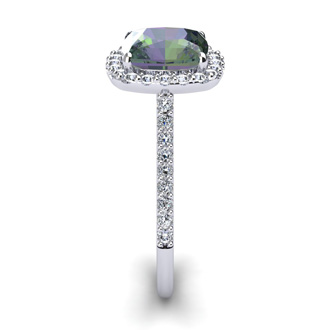 2 1/2 Carat Cushion Cut Mystic Topaz and Halo Diamond Ring In 14K White Gold