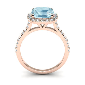 2 1/2 Carat Cushion Cut Aquamarine and Halo Diamond Ring In 14K Rose Gold
