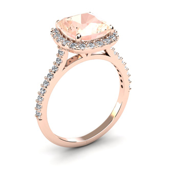 3 1/2 Carat Cushion Cut Morganite and Diamond Halo Ring in 14K Rose Gold